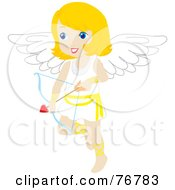 Royalty Free RF Clipart Illustration Of A Blond Female Cupid With A Heart Arrow by Rosie Piter