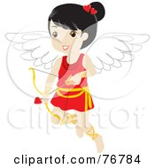 Royalty Free RF Clipart Illustration Of A Black Haired Female Cupid With A Heart Arrow