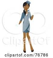 Attractive Young Indian Flight Attendant In A Blue Stewardess Uniform