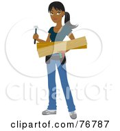 Royalty Free RF Clipart Illustration Of A Hispanic Builder Woman Carrying Lumber And A Hammer For A DIY Home Project by Rosie Piter
