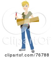 Blond Caucasian Builder Woman Carrying Lumber And A Hammer For A Diy Home Project
