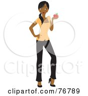 Royalty Free RF Clipart Illustration Of A Black School Teacher Woman Holding An Apple