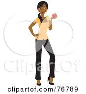 Black School Teacher Woman Holding An Apple