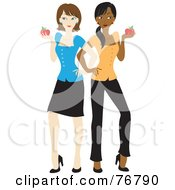 Black And Caucasian School Teacher Women Standing Back To Back And Holding Apples