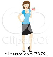 Brunette Caucasian School Teacher Woman Carrying An Apple And Book