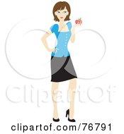 Brunette Caucasian School Teacher Woman Carrying An Apple And Book