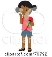 Royalty Free RF Clipart Illustration Of A Black Girl Holding A Doll And Using Her Asthma Inhaler by Rosie Piter