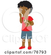 Hispanic Boy Holding A Football And Using His Asthma Inhaler