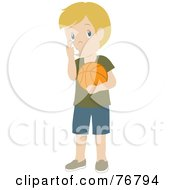 Caucasian Boy Holding A Basketball And Using His Asthma Inhaler