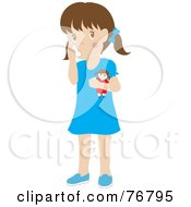 Caucasian Girl Holding A Doll And Using Her Asthma Inhaler