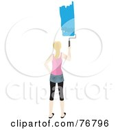 Royalty Free RF Clipart Illustration Of A Blond Caucasian Woman Painting A Stripe Of Blue Paint On A Wall