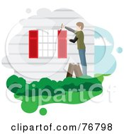 Royalty Free RF Clipart Illustration Of A Guy Standing On A Ladder And Painting His House Shutters Red