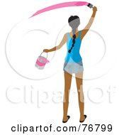 Royalty Free RF Clipart Illustration Of A Rear View Of AHispanic Woman Holding A Bucket And Painting A Slash Of Pink Paint On A Wall