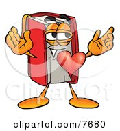 Red Book Mascot Cartoon Character With His Heart Beating Out Of His Chest