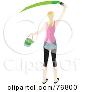 Royalty Free RF Clipart Illustration Of A Rear View Of A Caucasian Woman Holding A Bucket And Painting A Slash Of Green Paint On A Wall