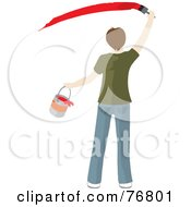 Royalty Free RF Clipart Illustration Of A Rear View Of A Caucasian Man Holding A Bucket And Painting A Slash Of Red Paint On A Wall