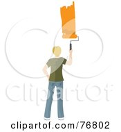 Royalty Free RF Clipart Illustration Of A Caucasian Man Painting A Stripe Of Orange Paint On A Wall by Rosie Piter