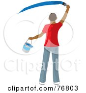 Royalty Free RF Clipart Illustration Of A Rear View Of A Hispanic Man Holding A Bucket And Painting A Slash Of Blue Paint On A Wall