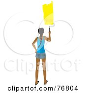 Royalty Free RF Clipart Illustration Of A Rear View Of A Hispanic Woman Painting A Stripe Of Yellow Paint On A Wall