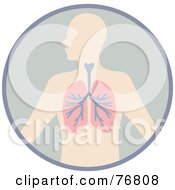 Royalty Free RF Clipart Illustration Of A Human Body With The Lungs In A Circle by Rosie Piter