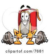 Clipart Picture Of A Red Book Mascot Cartoon Character Lifting A Heavy Barbell