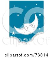 Royalty Free RF Clipart Illustration Of A Pleasant Crescent Moon Face Relaxing In A Starry Sky Over A Cloud