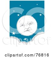 Pleasant Full Moon Face In A Starry Sky Over A Cloud