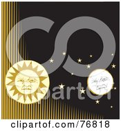Royalty Free RF Clipart Illustration Of A Full Moon And Sun Faces With Stars In A Black Sky With Yellow Lines