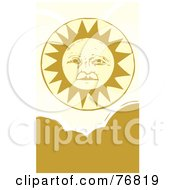 Royalty Free RF Clipart Illustration Of A Pleasant Yellow Sun Face Above Clouds
