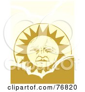 Royalty Free RF Clipart Illustration Of A Pleasant Yellow Sun Face Rising Over A Cloud