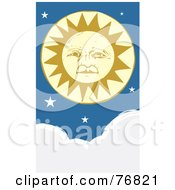 Royalty Free RF Clipart Illustration Of A Pleasant Yellow Sun Face With Stars Above Clouds by xunantunich