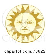 Royalty Free RF Clipart Illustration Of A Pleasant Yellow Sun Face by xunantunich