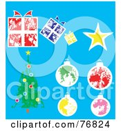 Royalty Free RF Clipart Illustration Of A Digital Collage Of Painted Presents Star Baubles And A Christmas Tree Over Blue