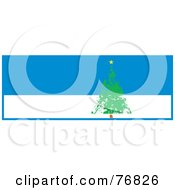 Royalty Free RF Clipart Illustration Of A Painted Evergreen Christmas Tree Over A Blue And White Background