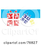 Royalty Free RF Clipart Illustration Of Red Blue And Yellow Christmas Gifts On A White And Blue Background