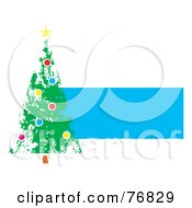 Royalty Free RF Clipart Illustration Of A Painted Christmas Tree Over A Blue Text Box