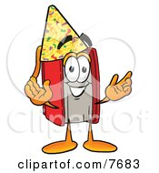 Clipart Picture Of A Red Book Mascot Cartoon Character Wearing A Birthday Party Hat