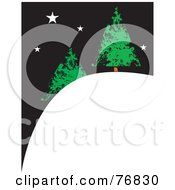 Royalty Free RF Clipart Illustration Of Two Evergreen Christmas Trees On A Snowy Hill Under A Starry Night Sky