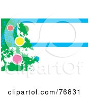 Royalty Free RF Clipart Illustration Of A Painted Green Christmas Tree With Colorful Baubles Over A Blue And White Background With Text Space