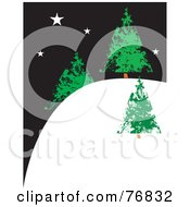Royalty Free RF Clipart Illustration Of Three Evergreen Christmas Trees On A Snowy Hill Under A Starry Night Sky by xunantunich