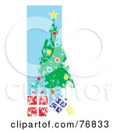 Royalty Free RF Clipart Illustration Of A Painted Christmas Tree And Gifts Over A Blue And White Background