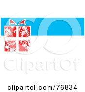 Royalty Free RF Clipart Illustration Of A Red And White Christmas Gift On A White And Blue Background