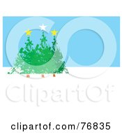 Royalty Free RF Clipart Illustration Of Three Evergreen Christmas Trees With Stars Over Blue And White