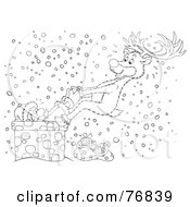 Royalty Free RF Clipart Illustration Of A Black And White Outline Of A Reindeer Pulling A Stuck Santa Out Of A Chimney In The Snow