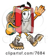 Clipart Picture Of A Red Book Mascot Cartoon Character Hiking And Carrying A Backpack