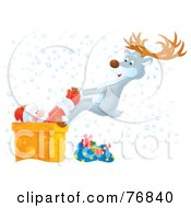 Royalty Free RF Clipart Illustration Of An Aibrushed Reindeer Pulling A Stuck Santa Out Of A Chimney In The Snow