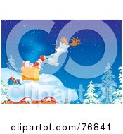 Royalty Free RF Clipart Illustration Of A Reindeer Pulling A Stuck Santa Out Of A Chimney On A Roof Top by Alex Bannykh