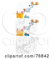 Royalty Free RF Clipart Illustration Of A Digital Collage Of A Reindeer Pulling A Stuck Santa Out Of A Chimney In The Snow Airbrushed Cartoon And Outline