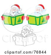 Royalty Free RF Clipart Illustration Of A Digital Collage Of Santa Smiling Over A Christmas Story Book Airbrushed Cartoon And Outline