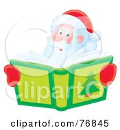 Royalty Free RF Clipart Illustration Of An Airbrushed Santa Smiling Over A Christmas Story Book